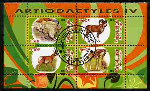 Congo 2010 Artiodactyla (Even toed Mammals) #4 perf sheetlet containing 4 values fine cto used