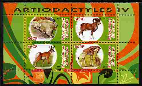 Congo 2010 Artiodactyla (Even toed Mammals) #4 perf sheetlet containing 4 values unmounted mint