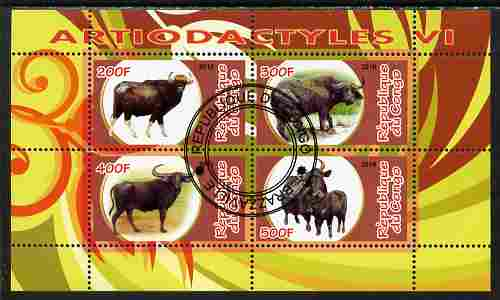 Congo 2010 Artiodactyla (Even toed Mammals) #6 perf sheetlet containing 4 values fine cto used