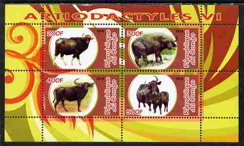 Congo 2010 Artiodactyla (Even toed Mammals) #6 perf sheetlet containing 4 values unmounted mint