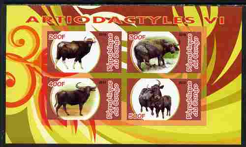 Congo 2010 Artiodactyla (Even toed Mammals) #6 imperf sheetlet containing 4 values unmounted mint