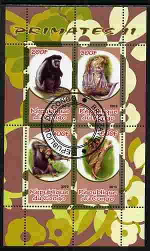 Congo 2010 Primates #2 perf sheetlet containing 4 values fine cto used