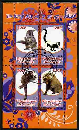 Congo 2010 Primates #4 perf sheetlet containing 4 values fine cto used