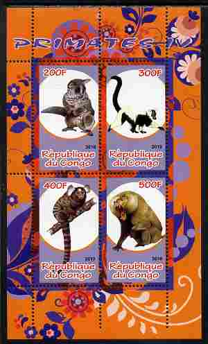 Congo 2010 Primates #4 perf sheetlet containing 4 values unmounted mint