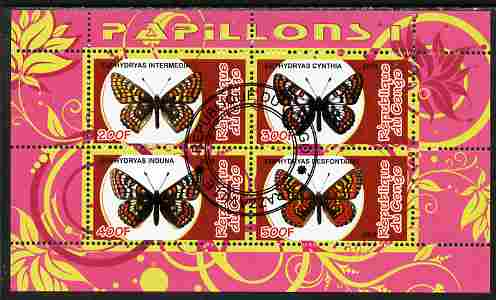 Congo 2010 Butterflies #1 perf sheetlet containing 4 values fine cto used, stamps on butterflies