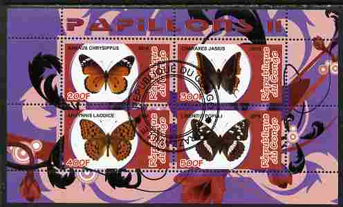 Congo 2010 Butterflies #2 perf sheetlet containing 4 values fine cto used