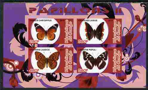 Congo 2010 Butterflies #2 imperf sheetlet containing 4 values unmounted mint