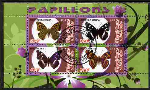 Congo 2010 Butterflies #3 perf sheetlet containing 4 values fine cto used
