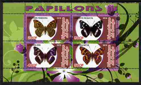 Congo 2010 Butterflies #3 perf sheetlet containing 4 values unmounted mint