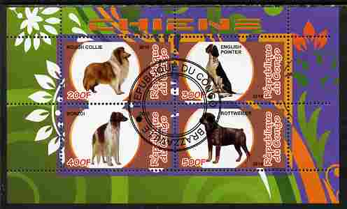 Congo 2010 Dogs perf sheetlet containing 4 values fine cto used