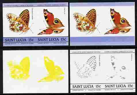 St Lucia 1985 Butterflies (Leaders of the World) 15c se-tenant pair - the set of 4 imperf progressive proofs comprising 2 individual colours plus  3 and all 4-colour composite, unmounted mint as SG 781a