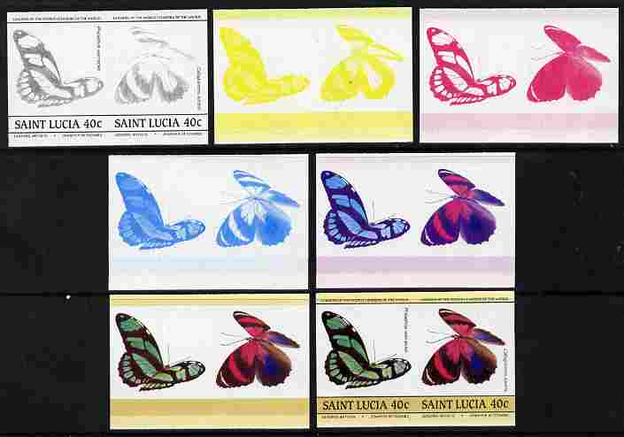 St Lucia 1985 Butterflies (Leaders of the World) 40c se-tenant pair - the set of 7 imperf progressive proofs comprising the 4 individual colours plus 2, 3 and all 4-colour composite, unmounted mint as SG 783a