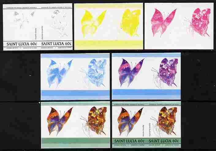 St Lucia 1985 Butterflies (Leaders of the World) 60c se-tenant pair - the set of 7 imperf progressive proofs comprising the 4 individual colours plus 2, 3 and all 4-colour composite, unmounted mint as SG 785a