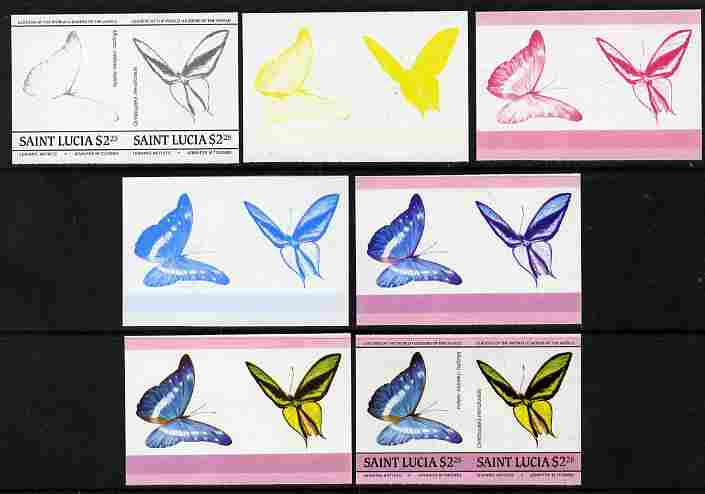St Lucia 1985 Butterflies (Leaders of the World) $2.25 se-tenant pair - the set of 7 imperf progressive proofs comprising the 4 individual colours plus 2, 3 and all 4-colour composite, unmounted mint as SG 787a