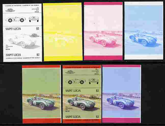 St Lucia 1984 Cars #2 (Leaders of the World) $2 Aston Martin DB3S (1954) se-tenant pair - the set of 7 imperf progressive proofs comprising the 4 individual colours plus 2, 3 and all 4-colour composite, unmounted mint as SG 757a
