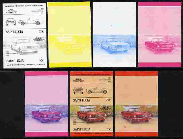 St Lucia 1984 Cars #2 (Leaders of the World) 75c Ford Mustang (1965) se-tenant pair - the set of 7 imperf progressive proofs comprising the 4 individual colours plus 2, 3 and all 4-colour composite, unmounted mint as SG 753a