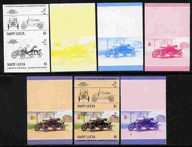 St Lucia 1984 Cars #2 (Leaders of the World) $1 Ford Model 'T' (1914) se-tenant pair - the set of 7 imperf progressive proofs comprising the 4 individual colours plus 2, 3 and all 4-colour composite, unmounted mint as SG 755a