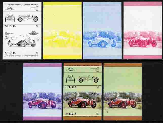 St Lucia 1984 Cars #1 (Leaders of the World) $1 Alfa Romeo (1930) se-tenant pair - the set of 7 imperf progressive proofs comprising the 4 individual colours plus 2, 3 an...