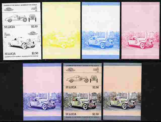 St Lucia 1984 Cars #1 (Leaders of the World) $2.50 Duesenberg 1932 SJ Roadster se-tenant pair - the set of 7 imperf progressive proofs comprising the 4 individual colours plus 2, 3 and all 4-colour composite, unmounted mint as SG 709a