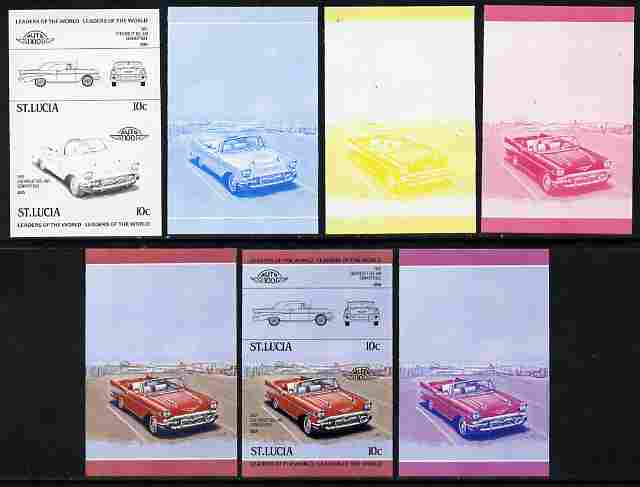 St Lucia 1984 Cars #1 (Leaders of the World) 10c Chevrolet Bel Air 1957 se-tenant pair - the set of 7 imperf progressive proofs comprising the 4 individual colours plus 2, 3 and all 4-colour composite, unmounted mint as SG 705a