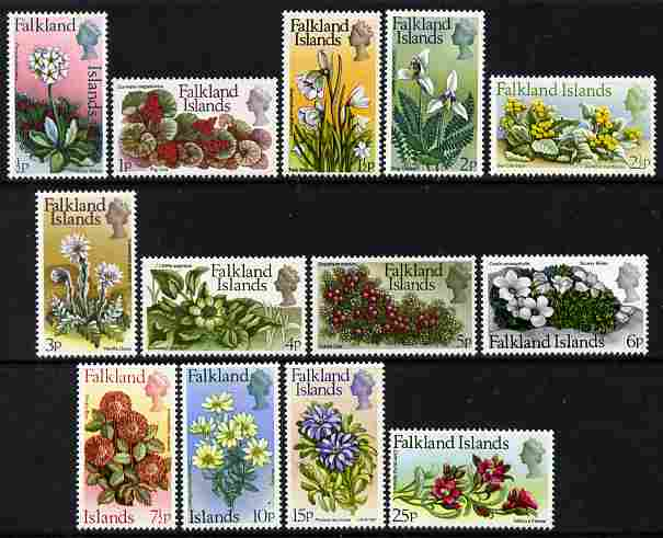 Falkland Islands 1972 Flower definitive set complete 13 values unmounted mint, SG 276-88