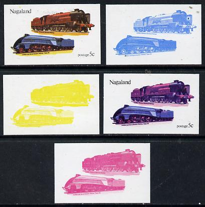 Nagaland 1974 Locomotives 5c (LMS & LNER) set of 5 imperf progressive colour proofs comprising 3 individual colours (red, blue & yellow) plus 3 and all 4-colour composites unmounted mint