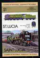 St Lucia 1983 Locomotives #1 (Leaders of the World) $1 Bodmin West Country Class se-tenant pair imperf from limited printing unmounted mint as SG 659a