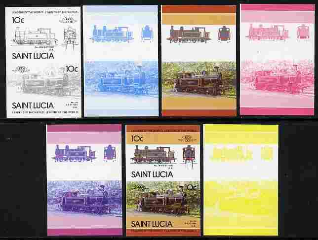 St Lucia 1985 Locomotives #4 (Leaders of the World) 10c '0-6-2 Tank' se-tenant pair - the set of 7 imperf progressive proofs comprising the 4 individual colours plus 2, 3 and all 4-colour composite, unmounted mint as SG 824a