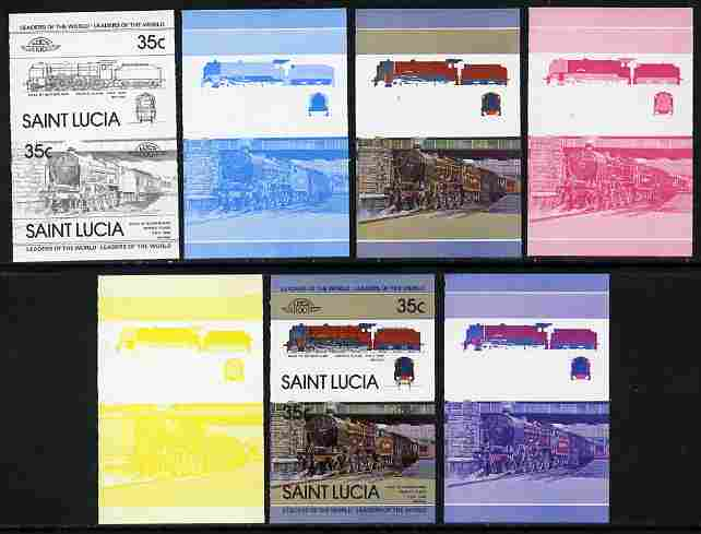 St Lucia 1983 Locomotives #1 (Leaders of the World) 35c Duke of Sutherland se-tenant - the set of 7 imperf progressive proofs comprising the 4 individual colours plus 2, 3 and all 4-colour composite, unmounted mint as SG 651a