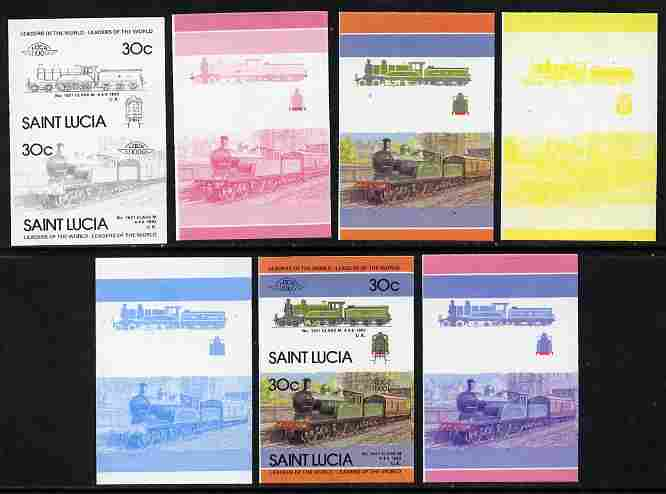 St Lucia 1985 Locomotives #4 (Leaders of the World) 30c 'Class M 4-4-0' se-tenant pair - the set of 7 imperf progressive proofs comprising the 4 individual colours plus 2, 3 and all 4-colour composite, unmounted mint as SG 826a