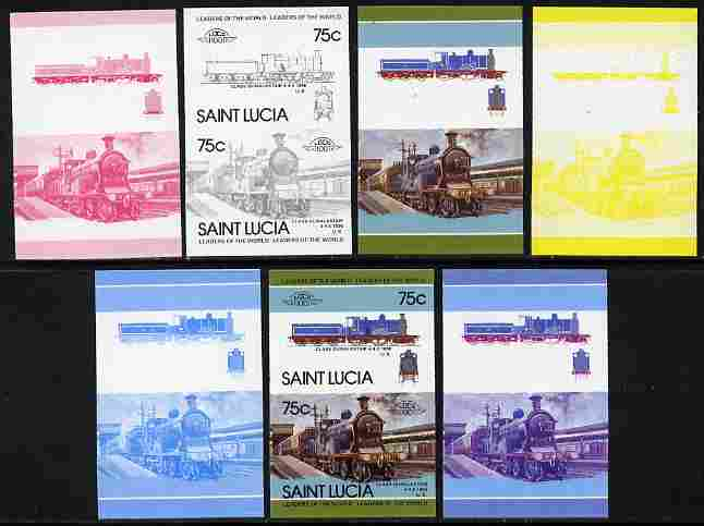 St Lucia 1985 Locomotives #4 (Leaders of the World) 75c 'Dunalastair 4-4-0' se-tenant pair - the set of 7 imperf progressive proofs comprising the 4 individual colours plus 2, 3 and all 4-colour composite, unmounted mint as SG 828a
