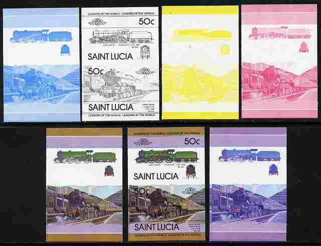 St Lucia 1983 Locomotives #1 (Leaders of the World) 50c Class B17/4 Leeds United se-tenant pair - the set of 7 imperf progressive proofs comprising the 4 individual colours plus 2, 3 and all 4-colour composite, unmounted mint as SG 657a