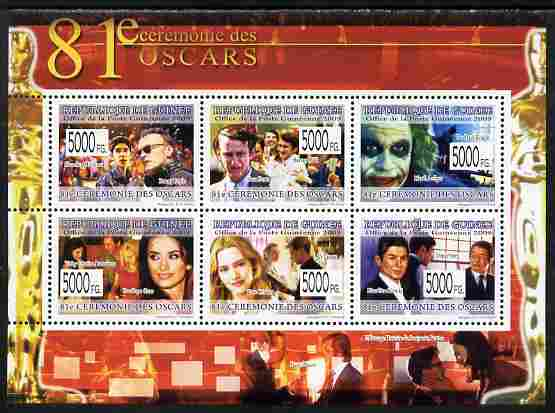 Guinea - Conakry 2009 The 81st Oscar Ceremony perf sheetlet containing 6 values unmounted mint Yv 6554-59