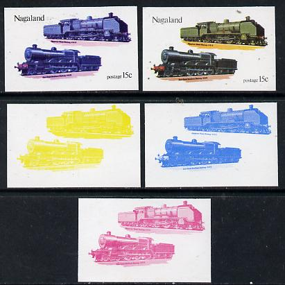 Nagaland 1974 Locomotives 15c (Egyptian) set of 5 imperf progressive colour proofs comprising 3 individual colours (red, blue & yellow) plus 3 and all 4-colour composites unmounted mint