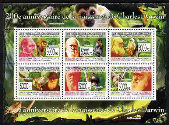 Guinea - Conakry 2009 200th Birth Anniversary of Charles Darwin #3 perf sheetlet containing 6 values unmounted mint Yv 6581-86