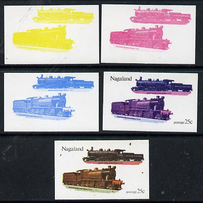 Nagaland 1974 Locomotives 25c (Indian) set of 5 imperf progressive colour proofs comprising 3 individual colours (red, blue & yellow) plus 3 and all 4-colour composites unmounted mint