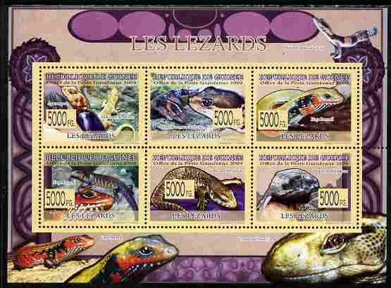 Guinea - Conakry 2009 Fauna - Lizards perf sheetlet containing 6 values unmounted mint