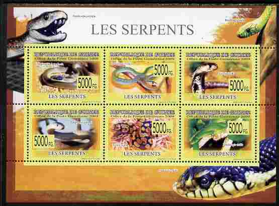 Guinea - Conakry 2009 Fauna - Snakes perf sheetlet containing 6 values unmounted mint , stamps on , stamps on  stamps on animals, stamps on  stamps on reptiles, stamps on  stamps on snakes