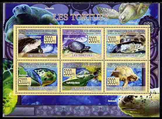 Guinea - Conakry 2009 Fauna - Turtles perf sheetlet containing 6 values unmounted mint