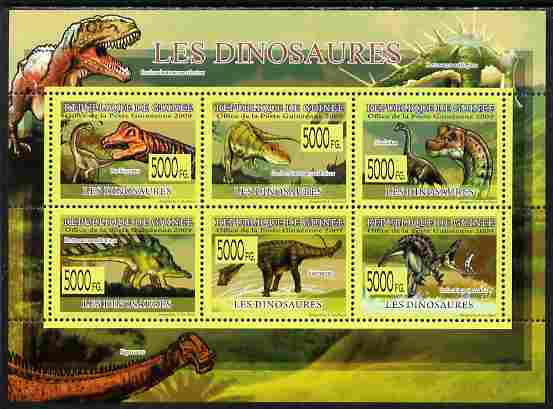 Guinea - Conakry 2009 Fauna - Dinosaurs perf sheetlet containing 6 values unmounted mint