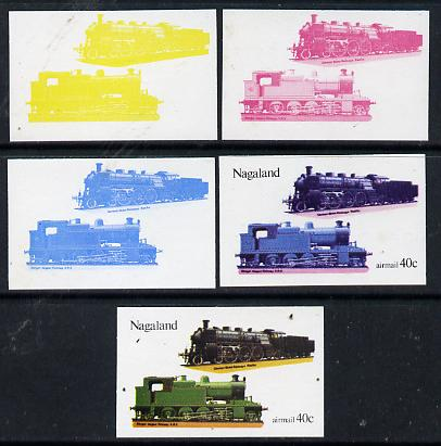 Nagaland 1974 Locomotives 40c (German) set of 5 imperf progressive colour proofs comprising 3 individual colours (red, blue & yellow) plus 3 and all 4-colour composites unmounted mint