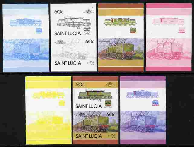 St Lucia 1986 Locomotives #5 (Leaders of the World) 60c No.13 Electric Loco se-tenant pair - the set of 7 imperf progressive proofs comprising the 4 individual colours plus 2, 3 and all 4-colour composite, unmounted mint as SG 864a