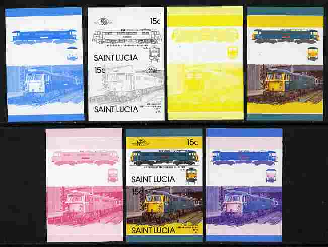 St Lucia 1986 Locomotives #5 (Leaders of the World) 15c Stephenson Electric Loco se-tenant pair - the set of 7 imperf progressive proofs comprising the 4 individual colours plus 2, 3 and all 4-colour composite, unmounted mint as SG 860a