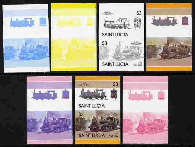 St Lucia 1986 Locomotives #5 (Leaders of the World) $3 2-4-2T JNR No.860 se-tenant pair - the set of 7 imperf progressive proofs comprising the 4 individual colours plus 2, 3 and all 4-colour composite, unmounted mint as SG 872a