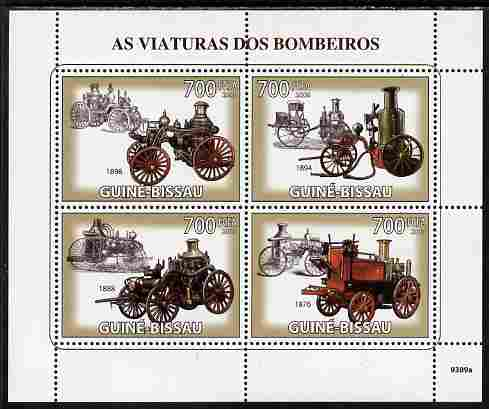 Guinea - Bissau 2009 Old Fire Engines perf sheetlet containing 4 values unmounted mint Yv 2934-37, Mi 4271-74