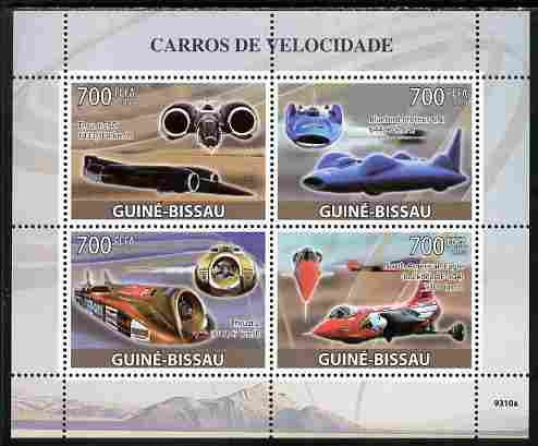Guinea - Bissau 2009 Fastest Cars perf sheetlet containing 4 values unmounted mint Yv 2938-41, Mi 4275-78