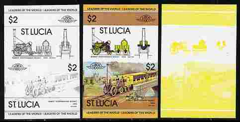 St Lucia 1983 Locomotives #1 (Leaders of the World) $2 Stephenson's Rocket se-tenant pair - the set of 3 imperf progressive proofs comprising yellow & black individual colours plus all 4-colour composite, unmounted mint as SG 665a