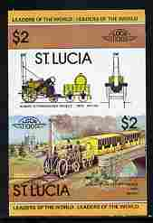 St Lucia 1983 Locomotives #1 (Leaders of the World) $2 Stephenson's Rocket se-tenant pair imperf from limited printing unmounted mint as SG 665a