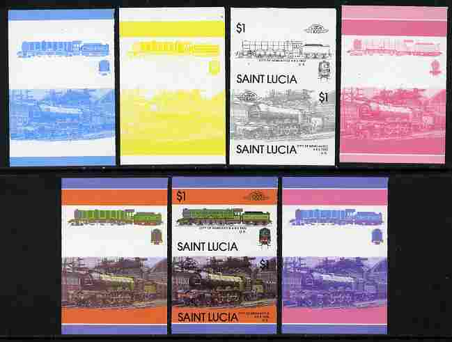 St Lucia 1986 Locomotives #5 (Leaders of the World) $1 4-6-2 City of Newcastle se-tenant pair - the set of 7 imperf progressive proofs comprising the 4 individual colours plus 2, 3 and all 4-colour composite, unmounted mint as SG 868a, stamps on railways