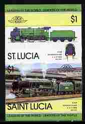St Lucia 1983 Locomotives #1 (Leaders of the World) $1 Schools Class 'Eton' 4-6-0 se-tenant pair imperf from limited printing unmounted mint as SG 661a